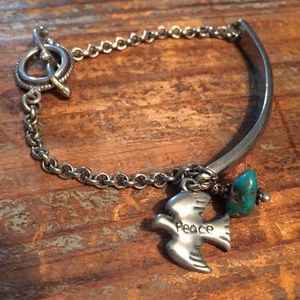 Silver and turquoise peace dove bracelet